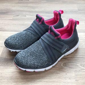 Adidas slip-on sneakers, gray/pink, sz 9